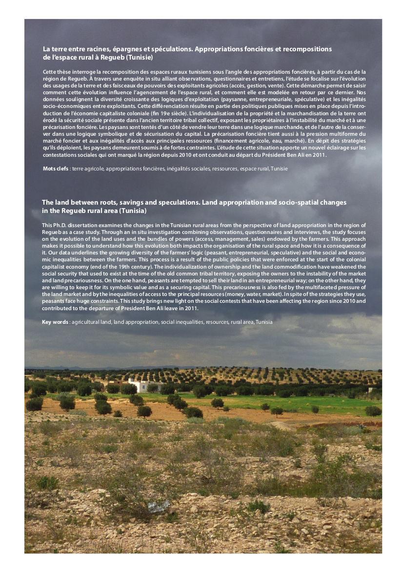 La terre entre racines, épargnes et spéculations. Appropriations foncières et recompositions de l'espace rural à Regueb (Tunisie) 3